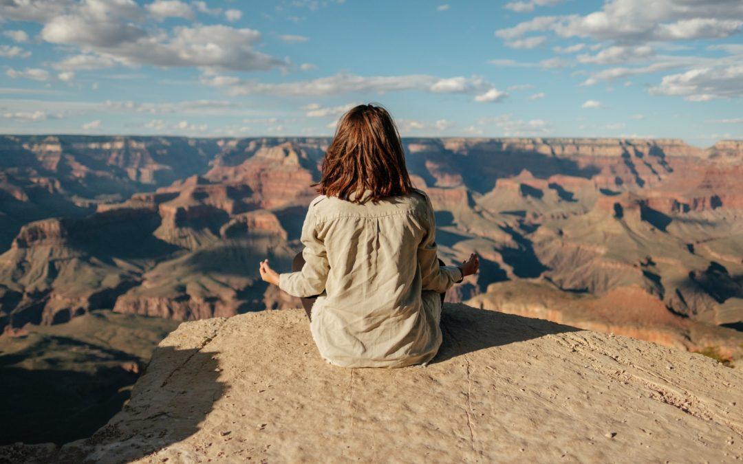 meditation woman mountain